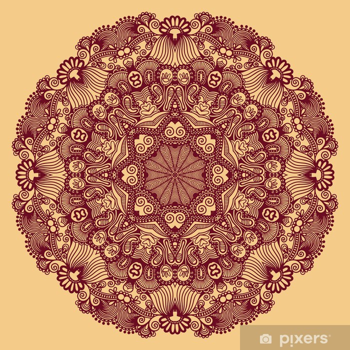 Sticker Pixerstick Cercle ornement, ornement dentelle ronde - Fêtes internationales