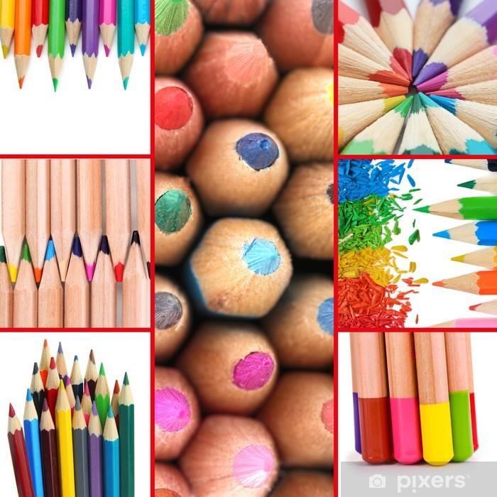 Poster Crayons de couleur collage - Autres objets