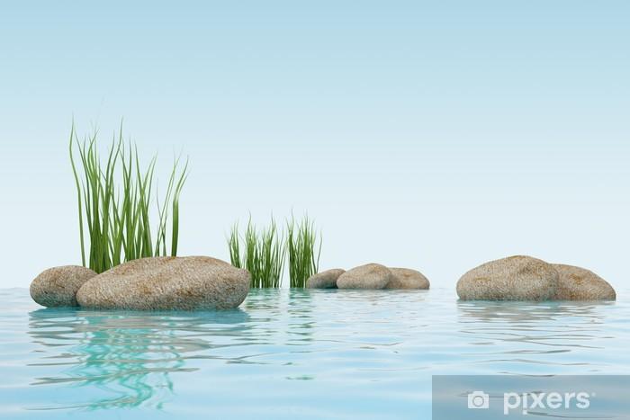 Papier peint vinyle Modèle 3d de l'eau, de l'herbe et de pierre. fait dans 3ds max - Saisons