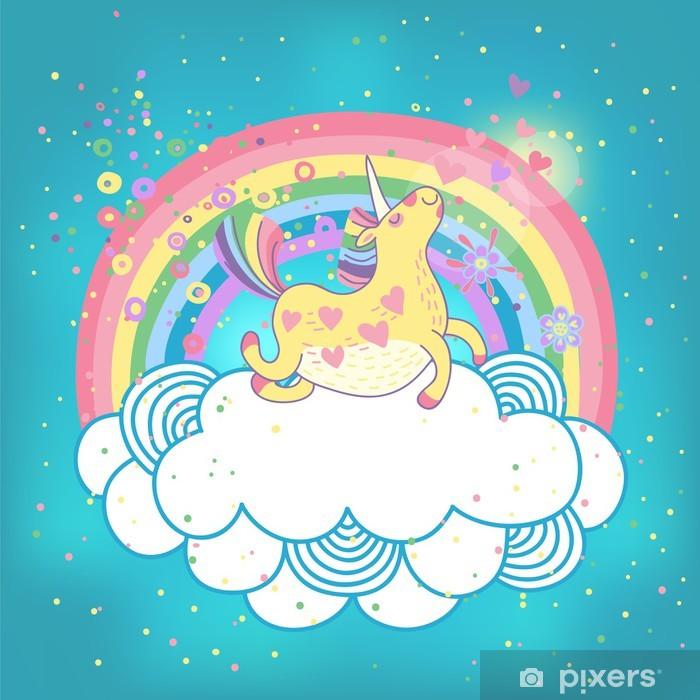 Unicorn regnbue i skyerne Pixerstick klistermærke -