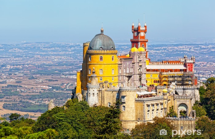 Pixerstick Sticker Luchtfoto van de Pena Palace. Sintra, Lissabon. Portugal. - Thema's