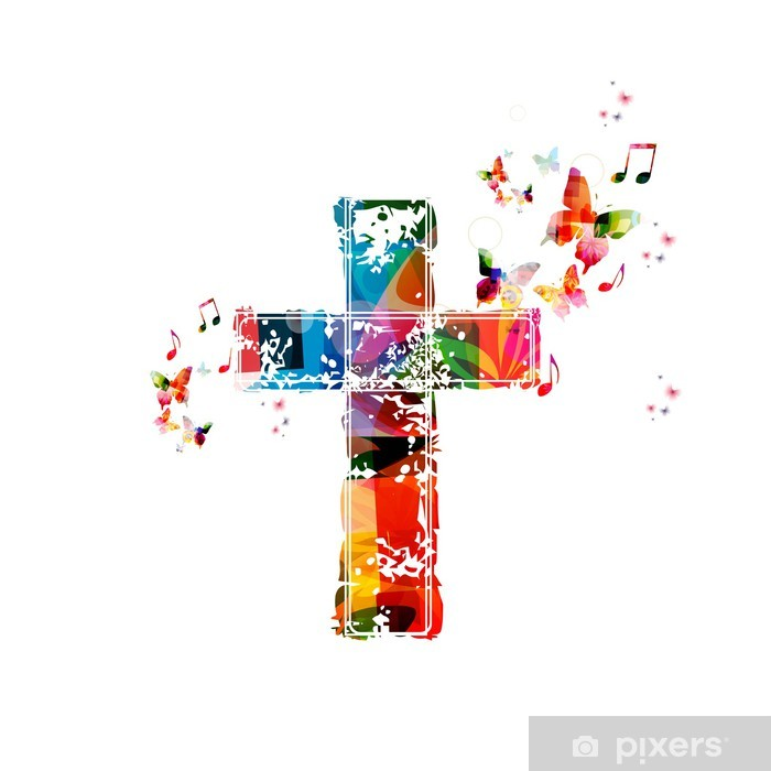 Colorful Cross Background With Butterflies Wall Mural