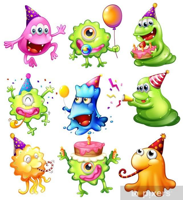 Naklejka Pixerstick Szczęśliwi potwory obchodzi urodziny - Fikcyjne zwierzęta