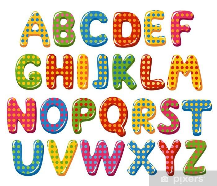 Carta Da Parati Lettere Alfabeto.Carta Da Parati Lettere Dell Alfabeto Colorate Con Motivo A Pois