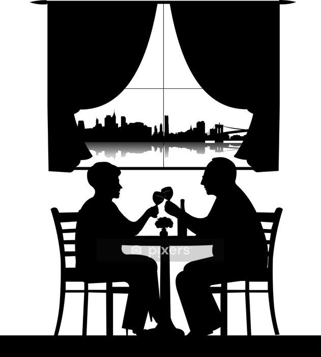 Adesivo da Parete Bella coppia di pensionati anziani bere vino silhouette - Adesivo da parete
