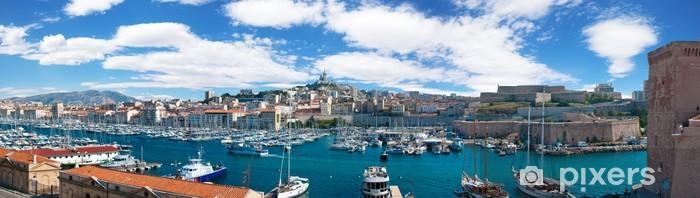Pixerstick Sticker Panoramisch uitzicht op de Oude haven van Marseille, Frankrijk - iStaging