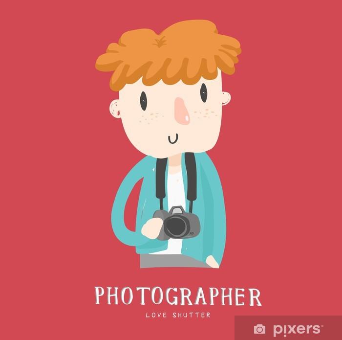 Vinylová fototapeta Fotograf chlapec znak vektor - Vinylová fototapeta
