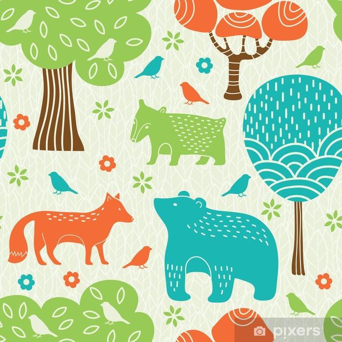 Fototapeta winylowa Zwierzęta leśne powtarzalne - Style