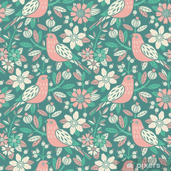 Seamless floral pattern Pixerstick Sticker - Backgrounds