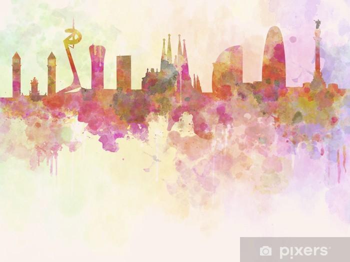 Vinyl Fotobehang Barcelona skyline in aquarel achtergrond -
