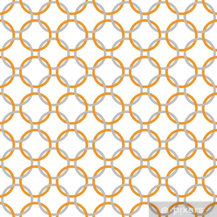Papier Peint Orange Gris Et Blanc Entrelaces Cercles Tissu Texture
