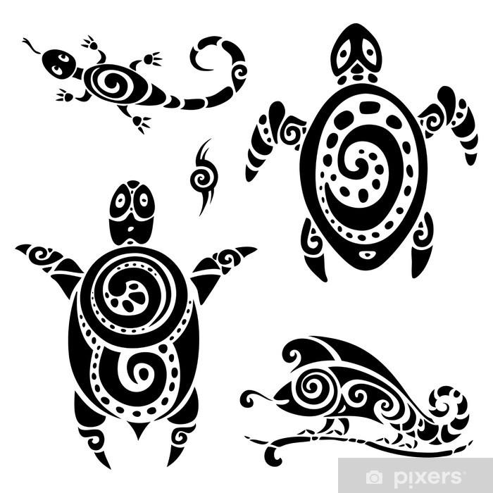 Turtle Tribal Tattoo Set Sticker Pixerstick