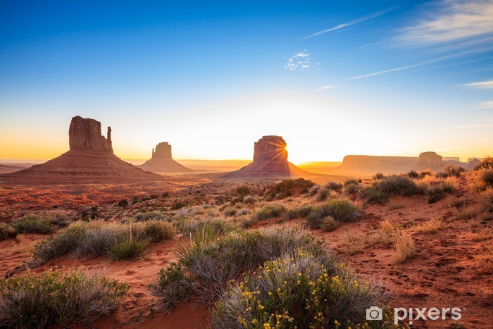 Pixerstick Sticker Zonsopgang in Monument Valley, AZ, USA - Woestijn