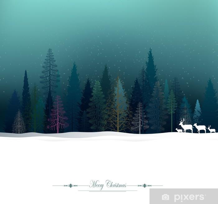 Poster Weihnachten Hintergrund mit Rehen und Kiefernwald - Feste