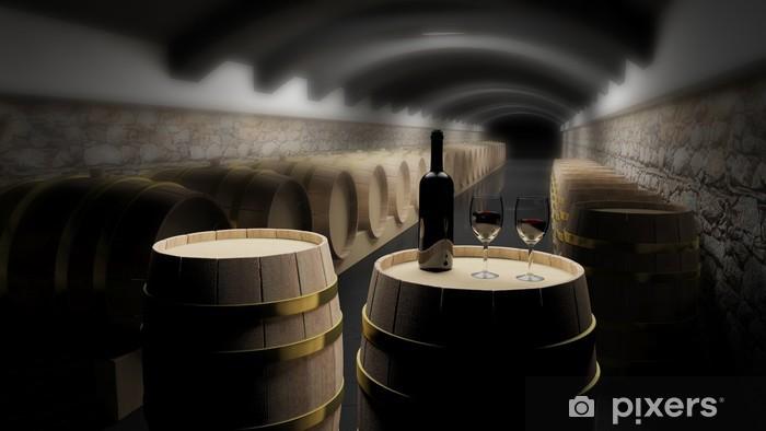 Fototapeta winylowa Beczki wina w piwnicy - Tematy