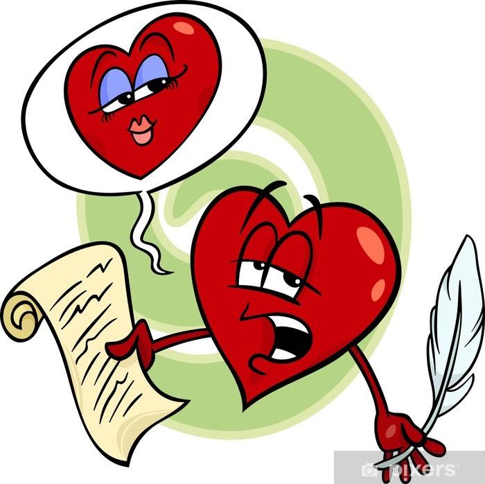 Sticker Hart Liefde Lezen Gedicht Cartoon Pixerstick