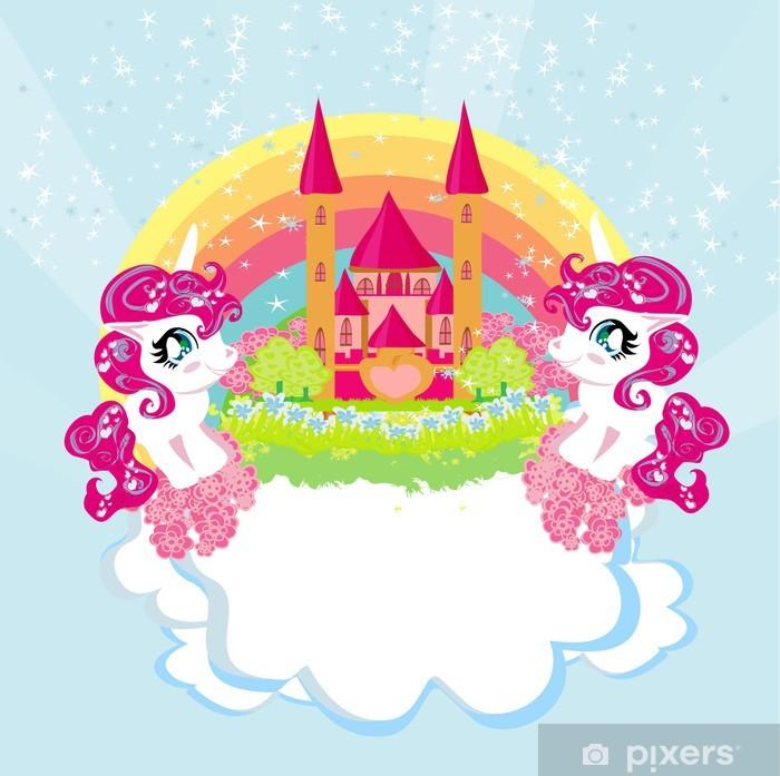 Kort med en sød enhjørning regnbue og eventyr prinsesse slot Laptop Klistermærke -