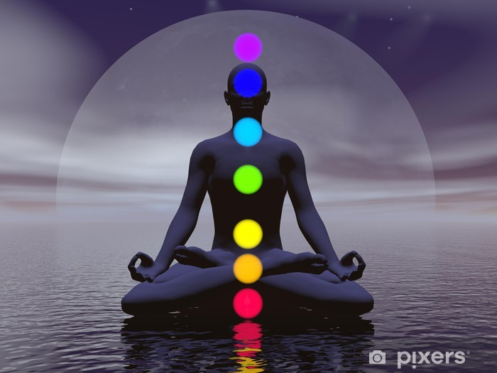 Chakras at night- 3D render Pixerstick Sticker - Buddhism
