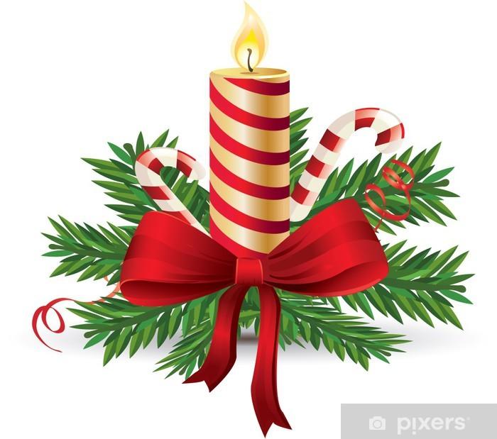 Fotomural Estándar Vela de Adviento con lazo rojo y el bastón de caramelo vector - Celebraciones internacionales