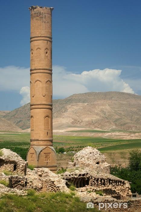 Sticker Pixerstick Minaret d'une ancienne époque de l'empire ottoman situé dans Hasankeyf - Moyen Orient