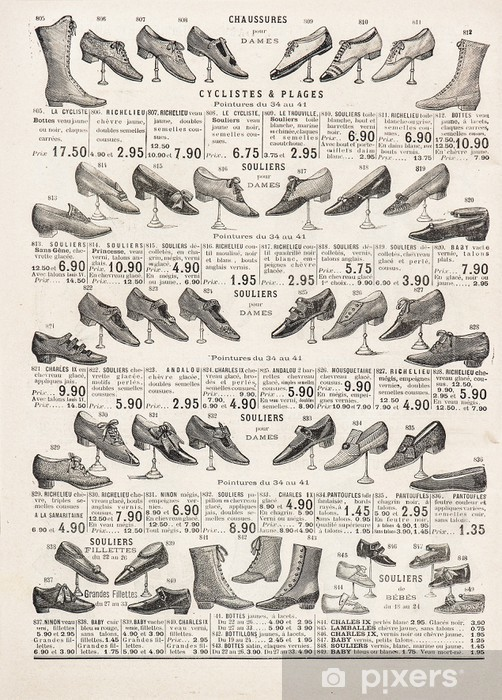 vintage victorian shoes collection. antique shop advertising Washable Wall Mural - Textures