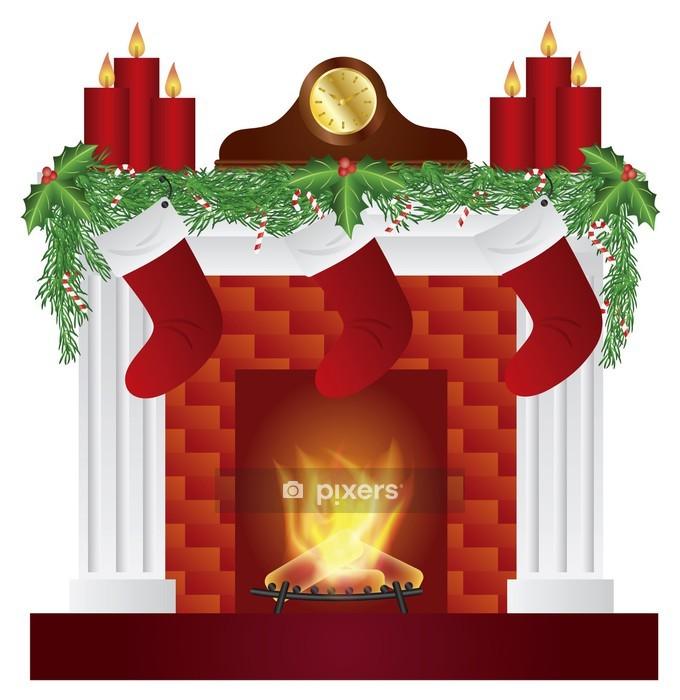 Sticker mural Cheminée avec décoration de Noël Vector Illustration - Fêtes internationales