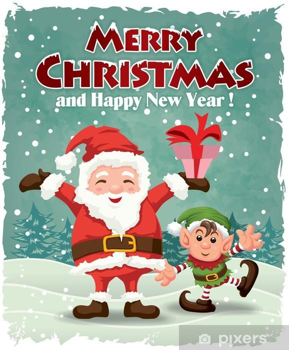 Immagini Babbo Natale Vintage.Carta Da Parati In Vinile Vintage Christmas Design Inserzionista Con Babbo Natale