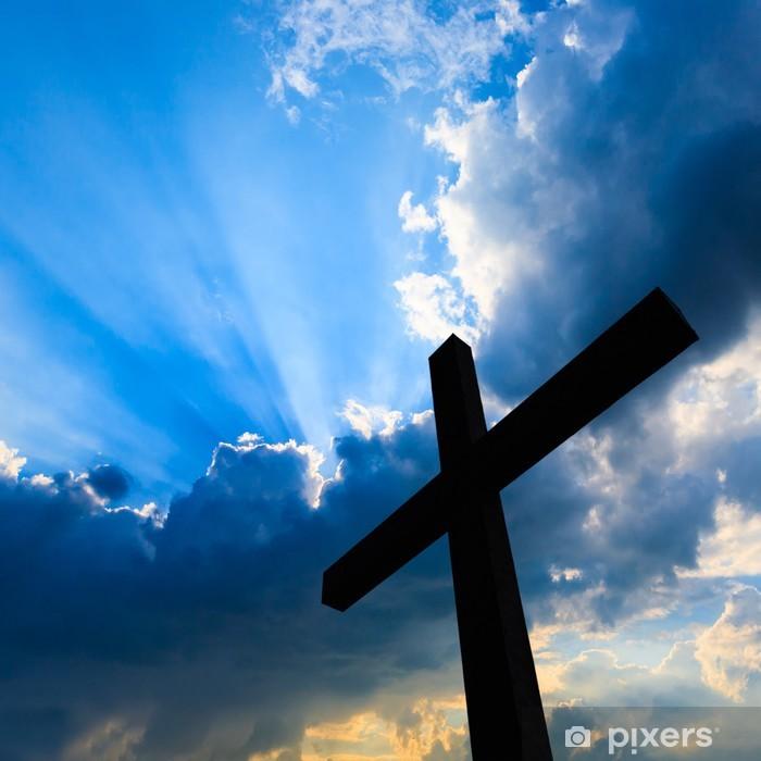 Naklejka Pixerstick Krzyż sylweta i święte niebo niebieskie - Religie