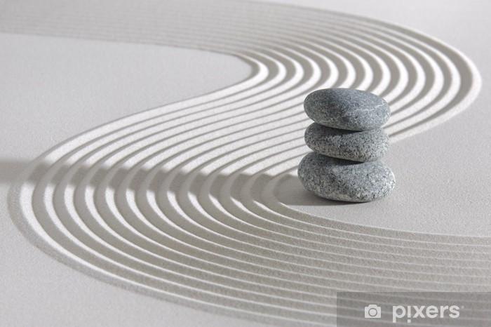 Carta da Parati in Vinile Giardino giapponese Zen con pietre impilate - Temi