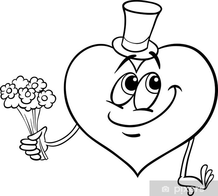 koelkaststicker valentijn hart met bloemen kleurplaat
