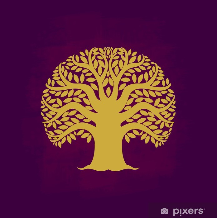 Pixerstick Aufkleber Baum-Symbol Asia-Stil, Vektor-Illustration - Zeichen und Symbole