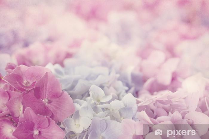 Naklejka Pixerstick Różowe kwiaty hortensja - Tematy