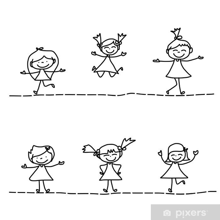 Carta Da Parati Lavabile Per Bambini.Carta Da Parati Lavabile Disegno A Mano Cartoon Bambini Felici