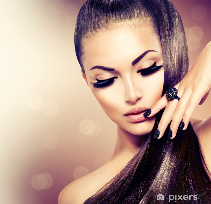 Naklejka Pixerstick Modelka piękna dziewczyna z długimi brązowe włosy zdrowe - Moda