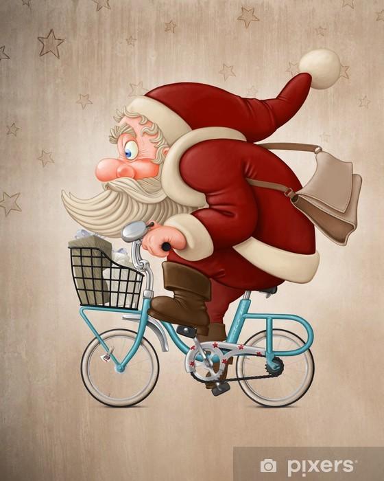 Babbo Natale In Bicicletta.Adesivo Babbo Natale Guida La Bicicletta Pixers Viviamo Per Il