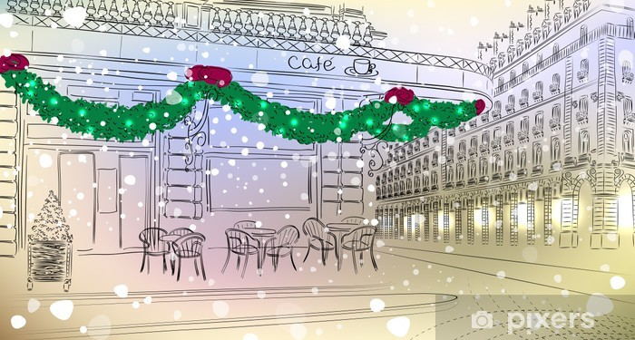 Restaurant facade with Christmas decorations in old city Vinyl Wall Mural - International Celebrations