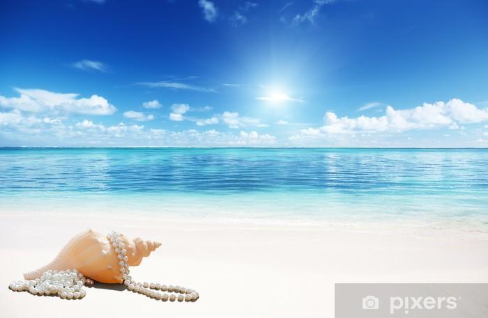 Zelfklevend Fotobehang Schelpen en perls op het strand - Water