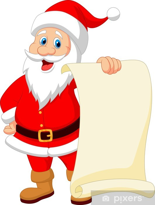 Fototapete Weihnachtsmann Cartoon Hält Leere Vintage Papier