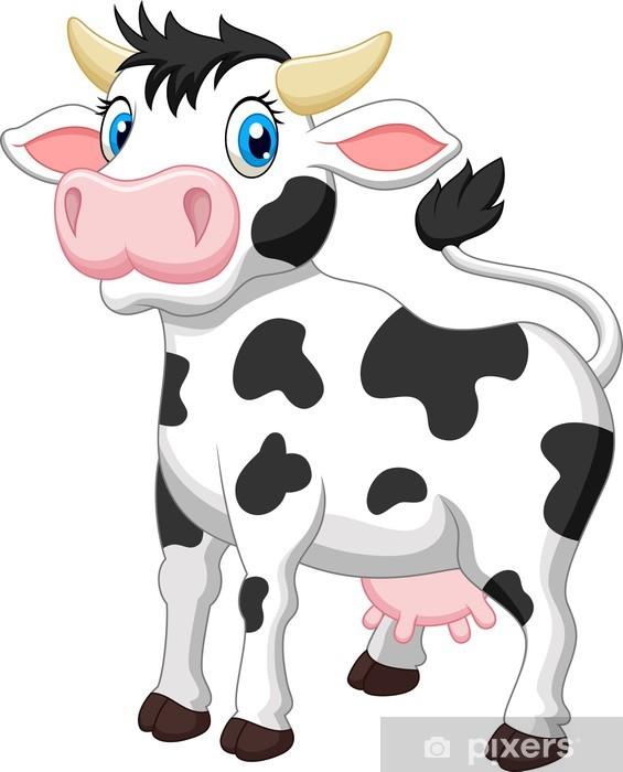 Carta da parati simpatico cartone animato mucca pixers