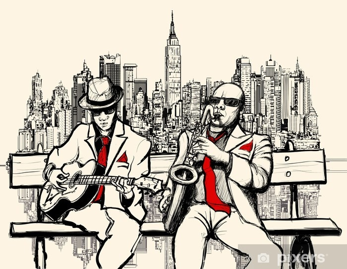 Bureau- en Tafelsticker Twee jazz mannen spelen in New York - jazz
