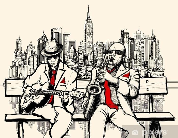 Pixerstick Sticker Twee jazz mannen spelen in New York - jazz