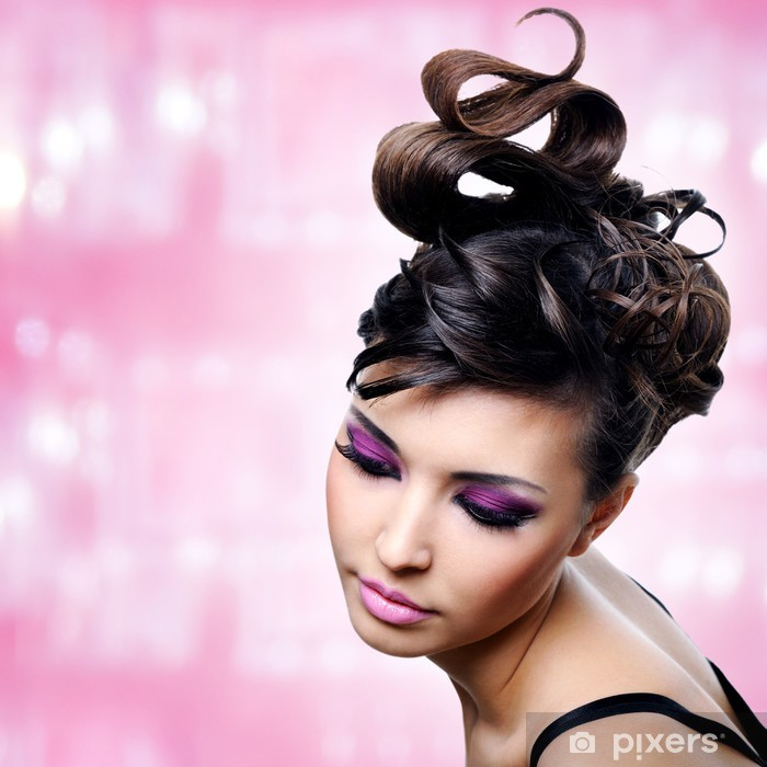 Face of beautiful woman with fashion hairstyle and glamour makeu Poster - Destinations