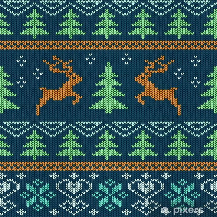 Scandinavian knitted seamless pattern Poster - International Celebrations