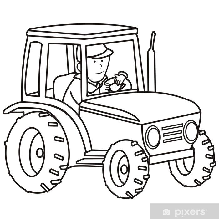 tractor - coloring book Sticker - Pixerstick