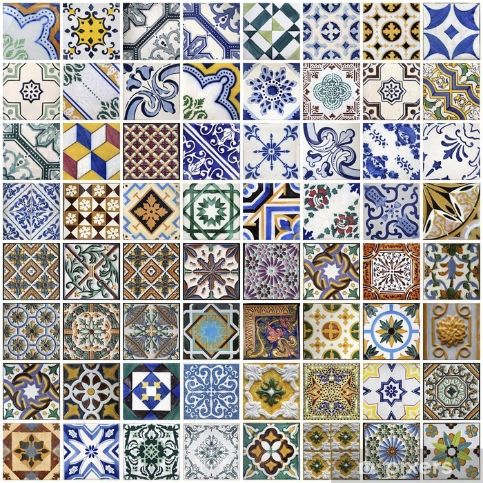 Traditional tiles from Porto, Portugal Framed Poster - Themes