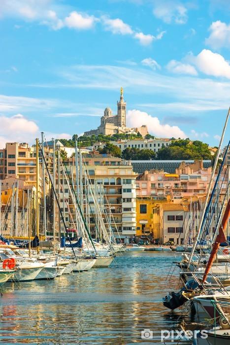 Pixerstick Sticker De oude Vieux haven van Marseille in de late avond - Europa
