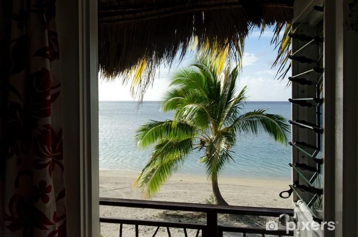 Fototapeta winylowa Coconut Tree in Wyspy Cooka Aitutaki Lagoon - Oceania