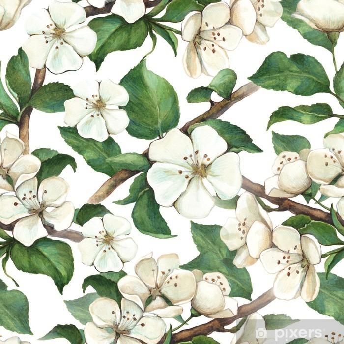 Fotomural Estándar Modelo con las flores de la manzana de la acuarela - Temas