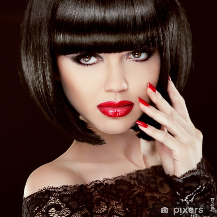 Portrait Of Sexy Brunette Woman With Short Black Hair Red Lips