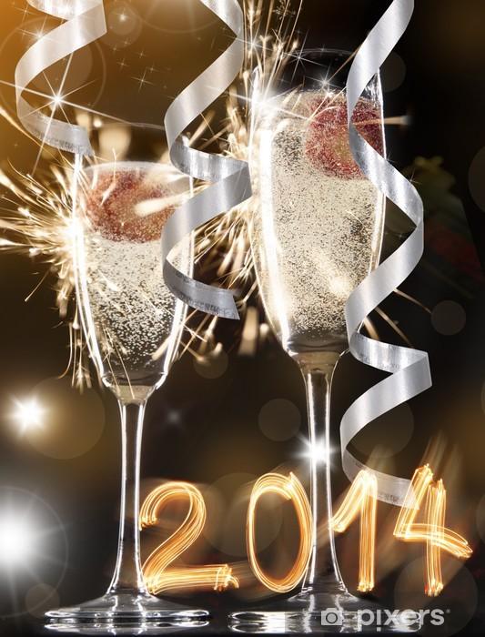 Nálepka Pixerstick Dvojice šampaňského flétny - Jídla